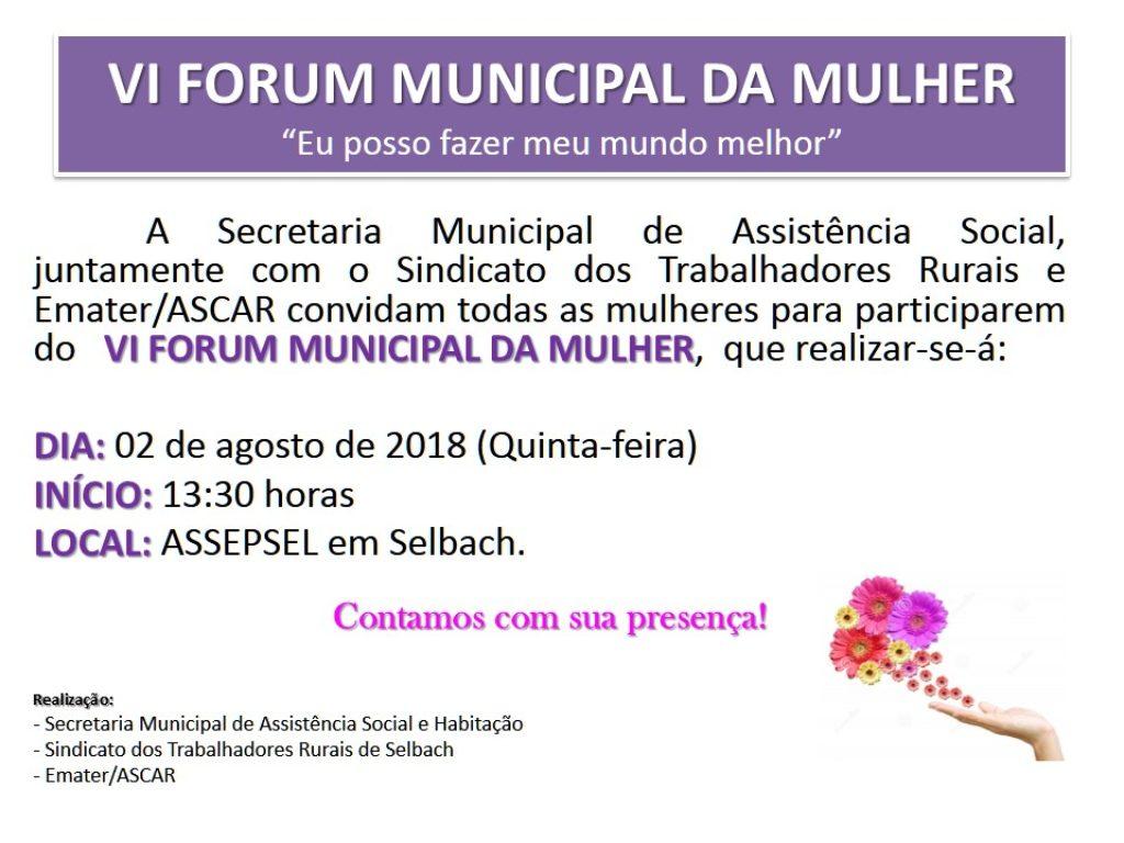 Selbach realizará VI Fórum Municipal da Mulher