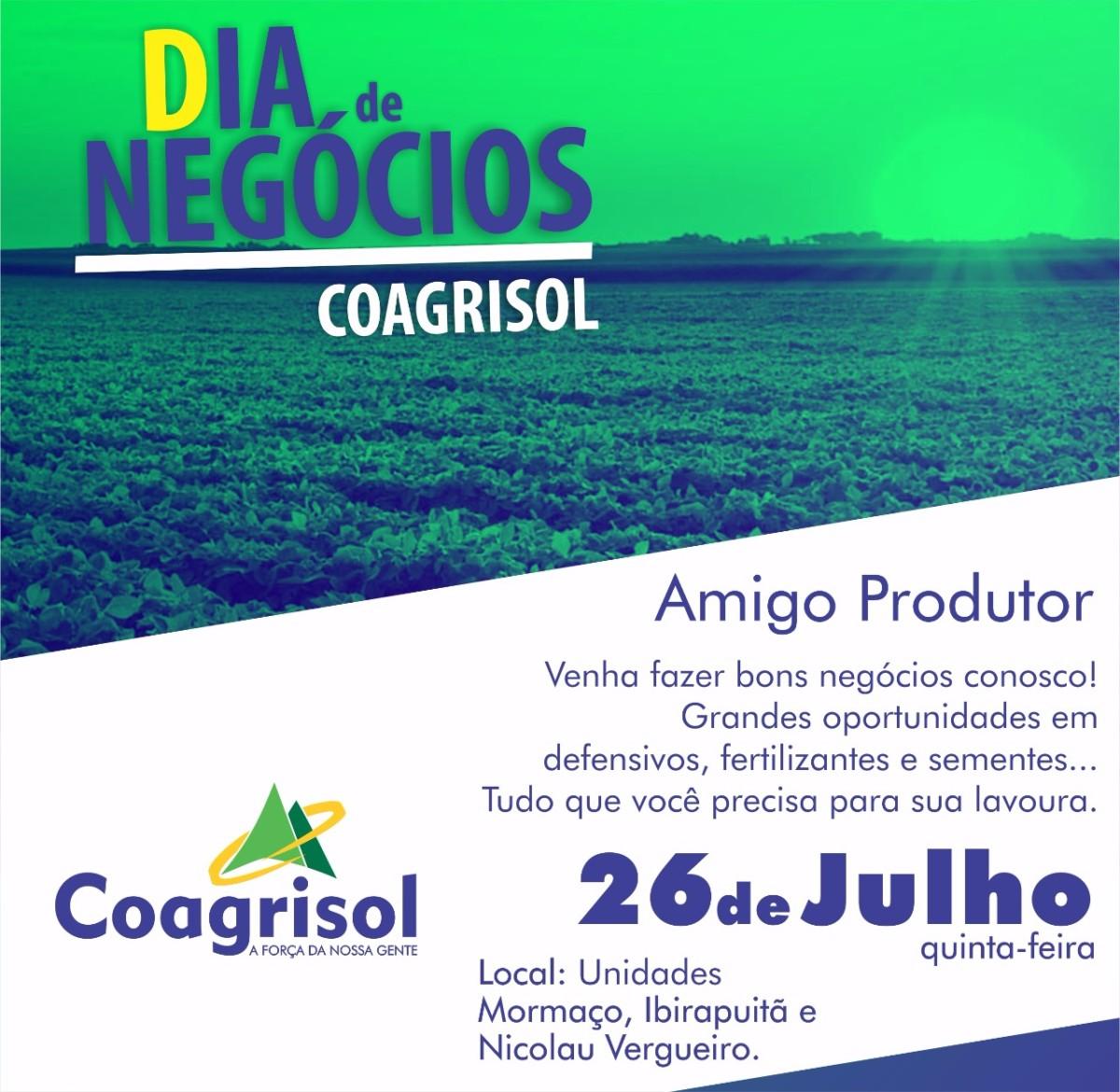 Unidades da Coagrisol de Ibirapuitã, Mormaço e Nicolau Vergueiro tem dia de negócios nesta quinta-feira