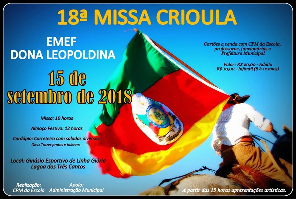 Escola de Linha Glória, Lagoa dos Três Cantos, realiza neste sábado sua 18ª missa crioula