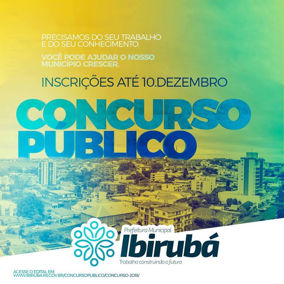 Concurso Público da Prefeitura de Ibirubá têm inscrições abertas até dia 10 de dezembro
