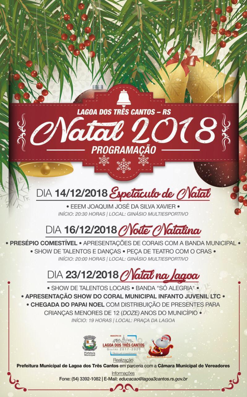 Inicia dia 14 de dezembro a programação Natalina de Lagoa dos Três Cantos