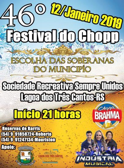 46º Festival do Chopp com escolha das Soberanas é neste sábado em Lagoa dos Três Cantos