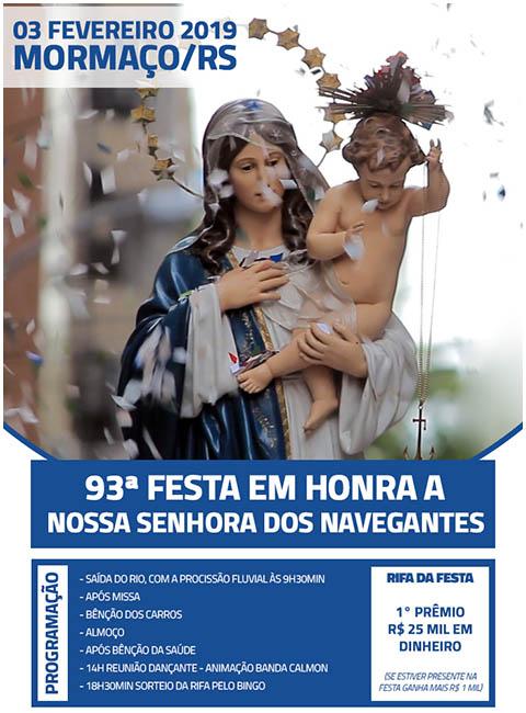 Mormaço promove neste domingo a 93ª Festa de Navegantes