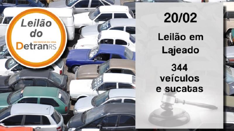 Leilão do Detran oferta mais de 300 veículos e sucatas em Lajeado na quarta-feira