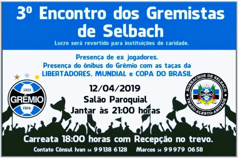 Selbach sedia em abril o 3º Encontro do Grêmio