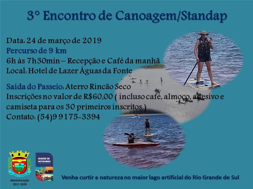 3º Encontro de Canoagem Standap de Quinze de Novembro acontece neste domingo
