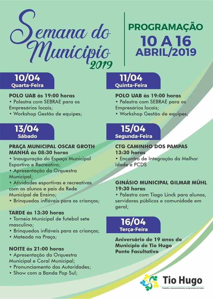 Tio Hugo promove de 10 a 16 de abril Semana do Município