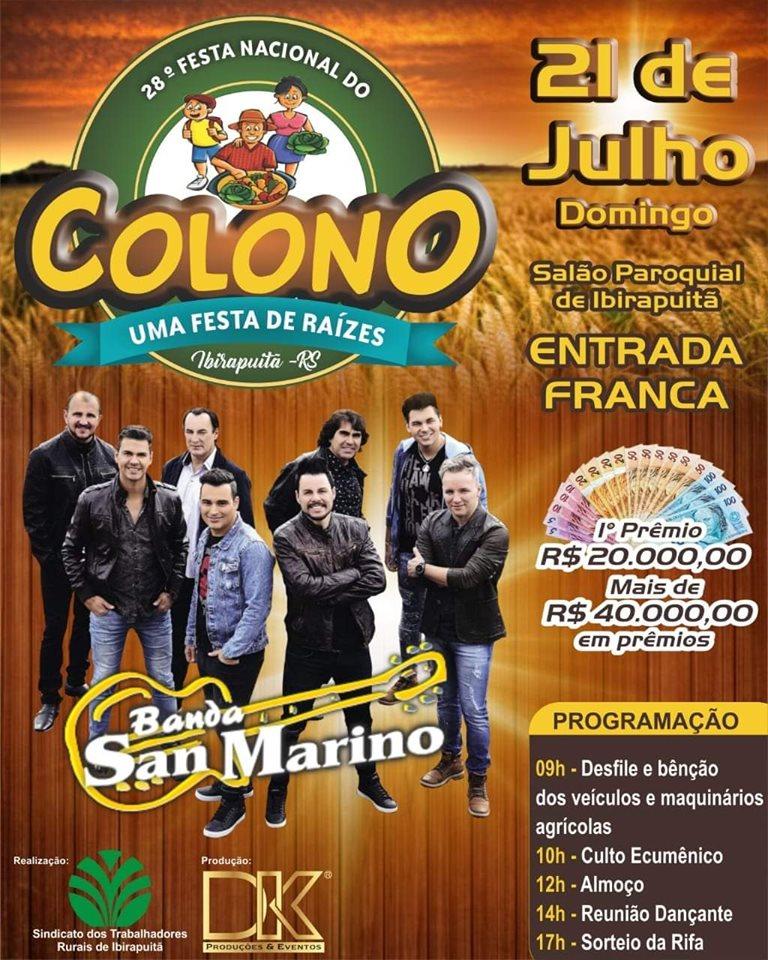 28º Festa do Colono e Motorista será dia 21 de julho em Ibirapuitã