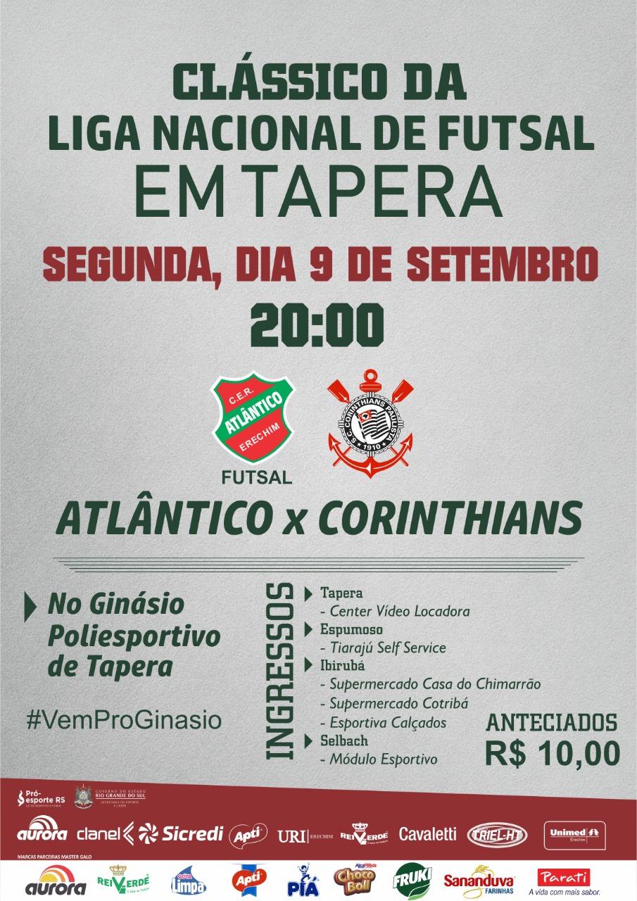 Atlântico e Corinthians jogarão em Tapera pela Liga Nacional de Futsal