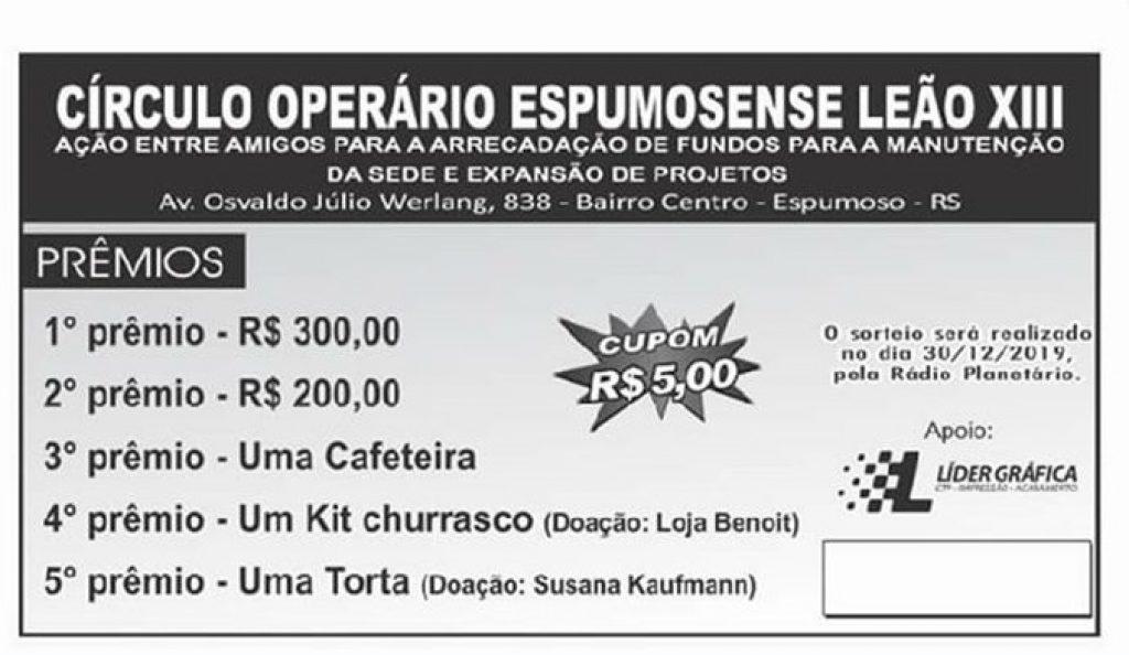 Círculo Operário Espumosense realizou tradicional sorteio da rifa beneficente
