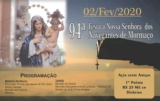 94ª festa de Navegantes de Mormaço será neste domingo, 2 de fevereiro
