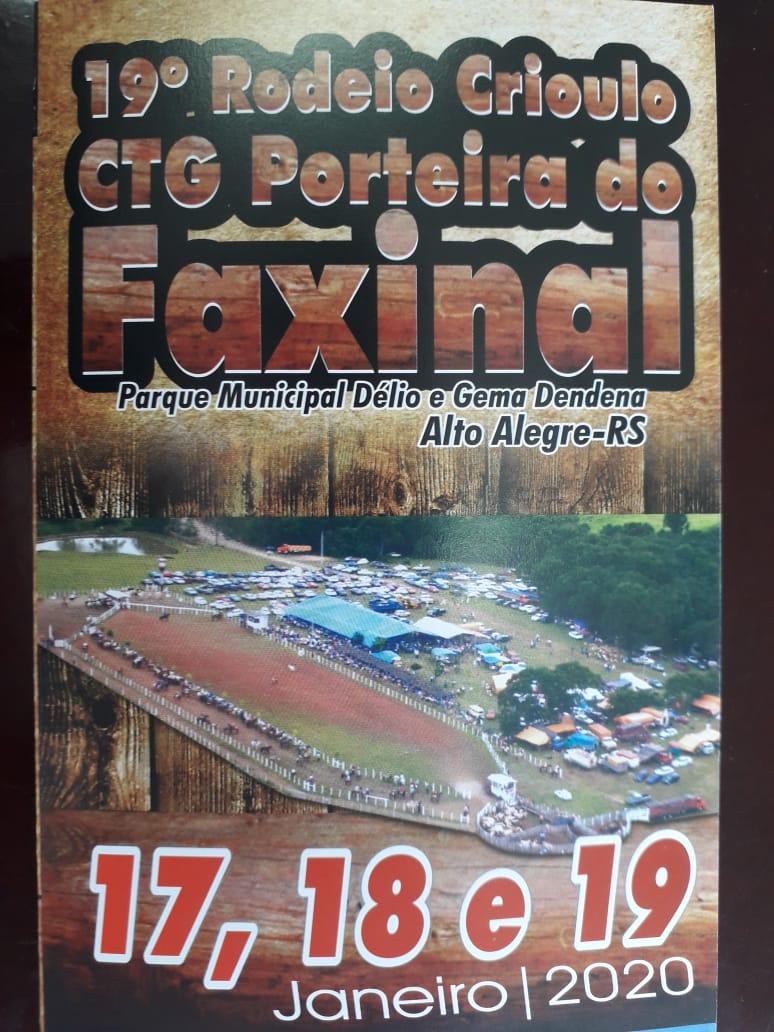 CTG Porteira do Faxinal de Alto Alegre realiza de 17 a 19 de janeiro seu 19º Rodeio Crioulo