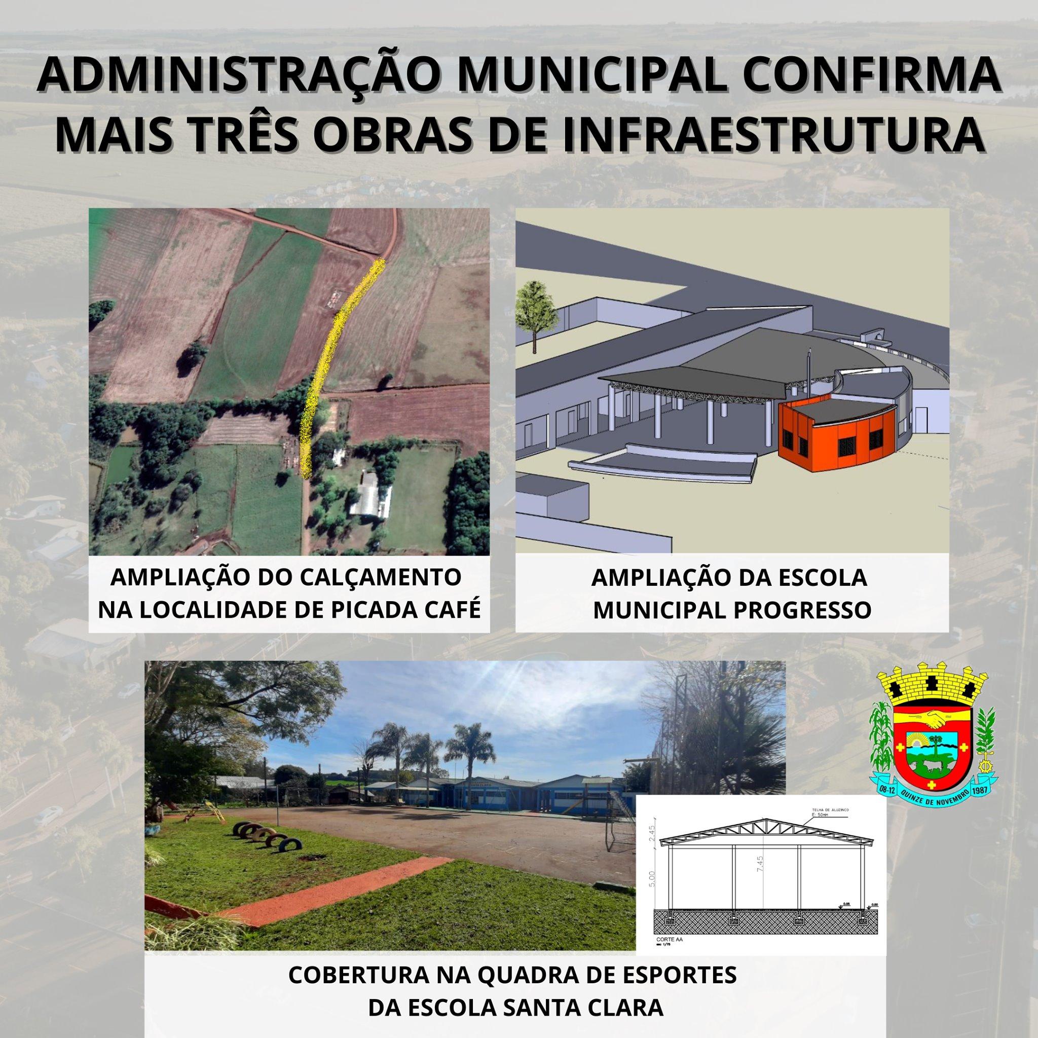 Três obras de infraestrutura serão realizadas em XV de Novembro