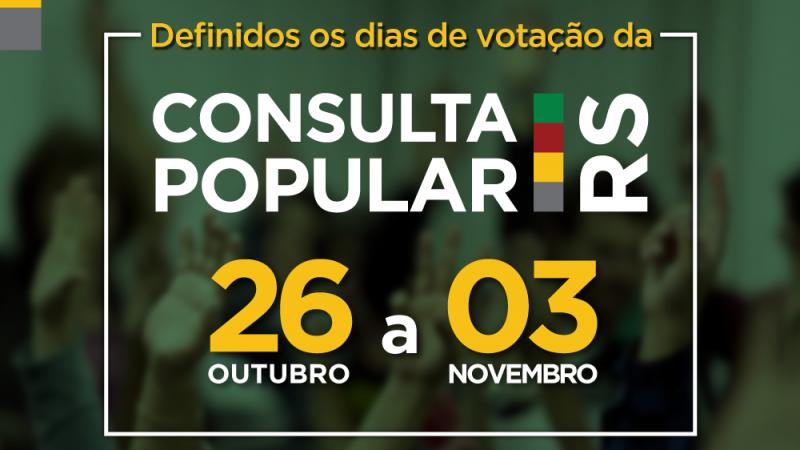Votação da Consulta Popular será virtual e no final de outubro no RS