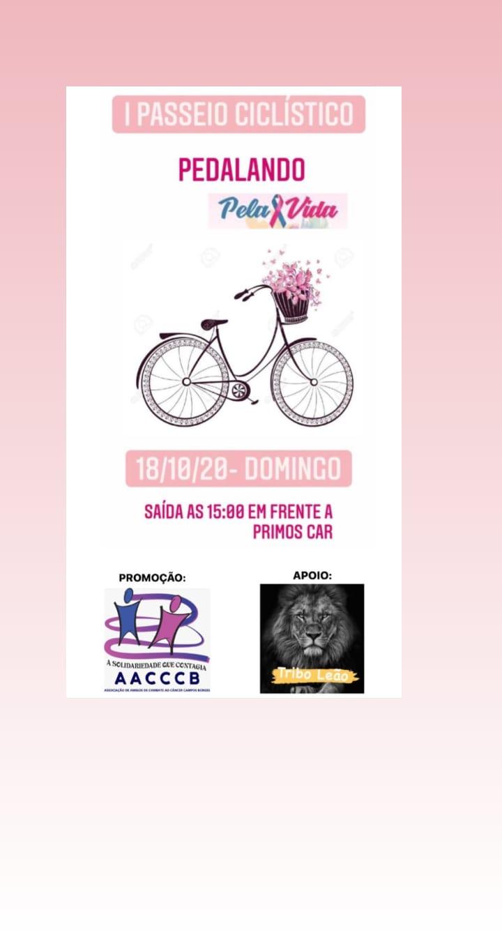 """1º Passeio Ciclístico """"Pedalando Pela Vida"""" será realizado neste domingo em Campos Borges"""