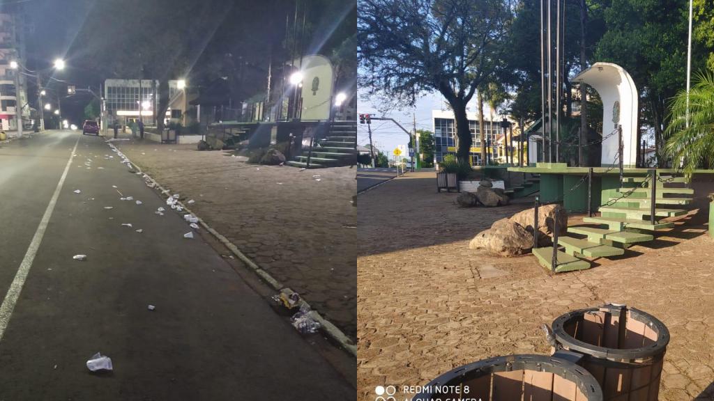 Após comemoração com Gilson e Gilson, Democratas faz limpeza na Praça de Não-Me-Toque