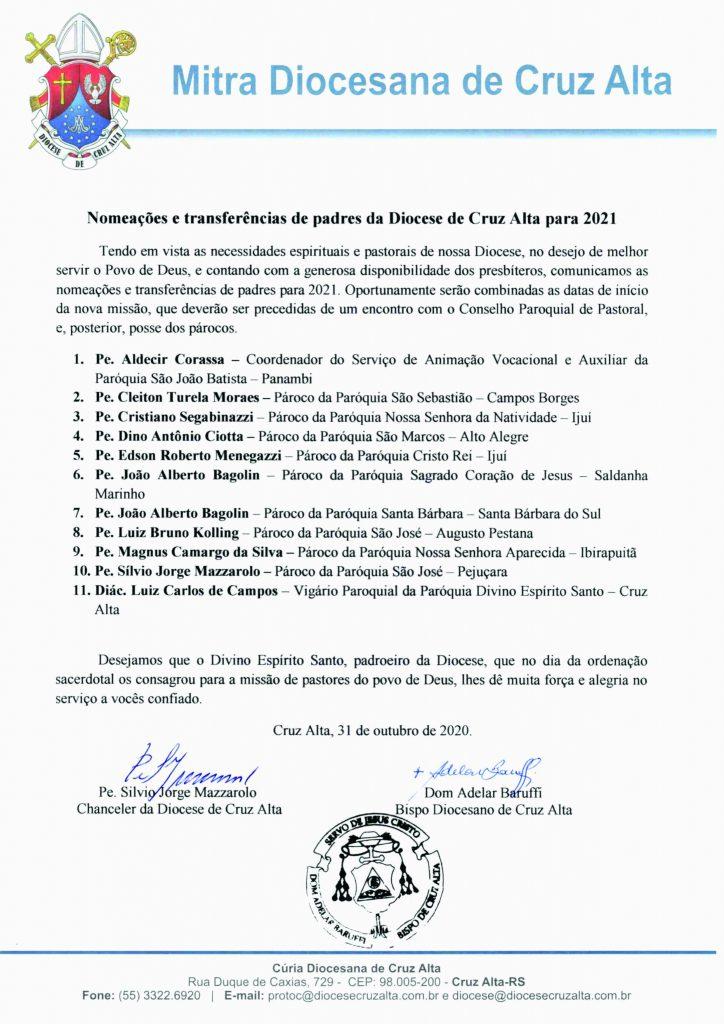 Paróquias de Campos Borges e Alto Alegre terão novos padres em 2021