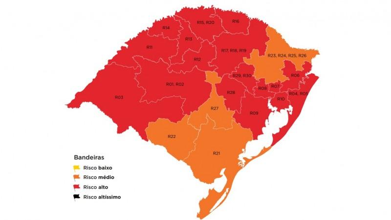 Regiões de Passo Fundo e Cruz Alta seguem em vermelho no mapa definitivo da 38ª rodada do distanciamento controlado