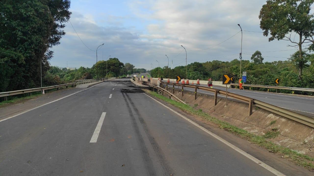 Ponte da BR 386 em Estrela onde caminhão de combustível explodiu segue interditada