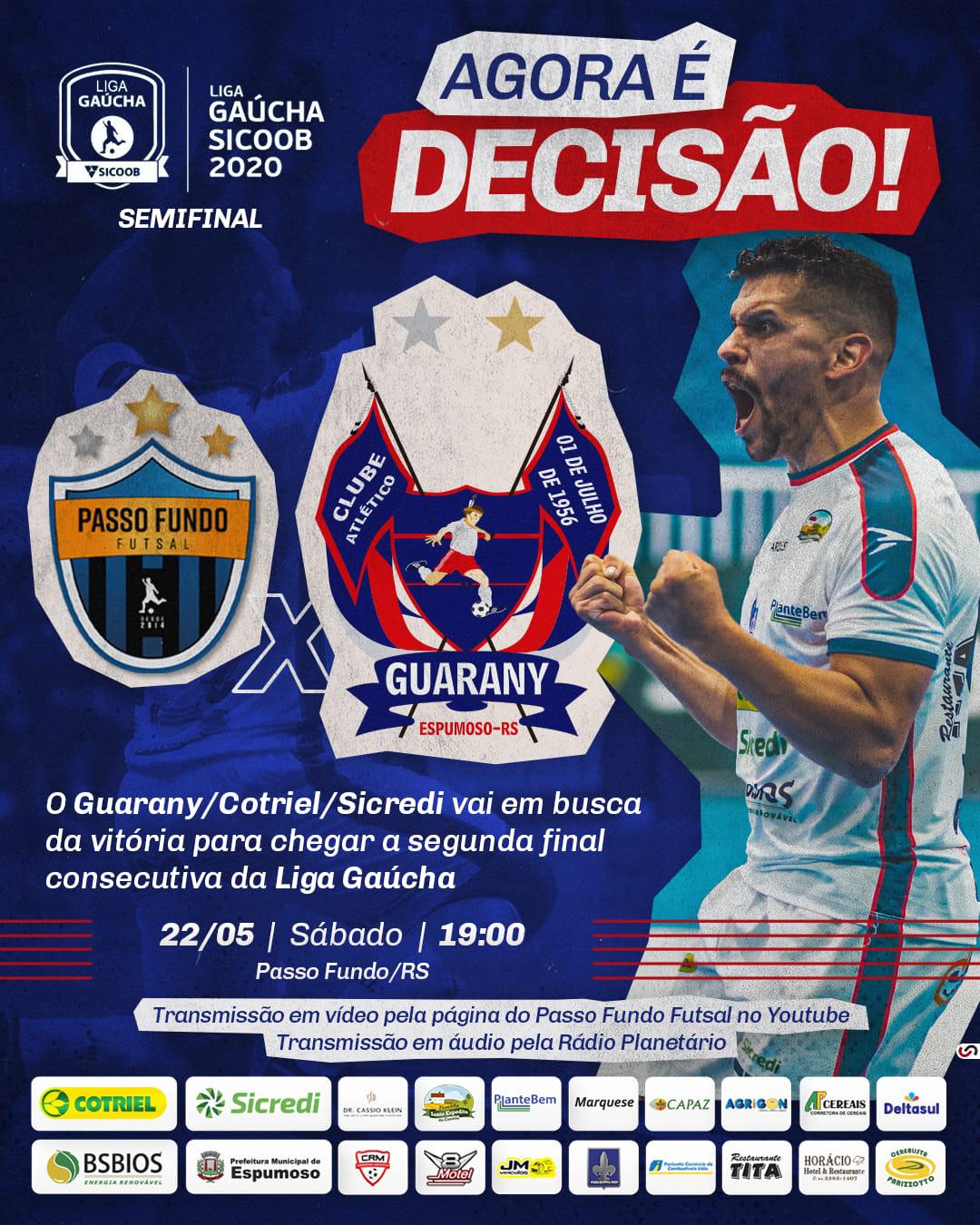 Guarany/Cotriel/Sicredi e Passo Fundo decidem neste sábadao  vaga para final da Liga Gaúcha Futsal 1