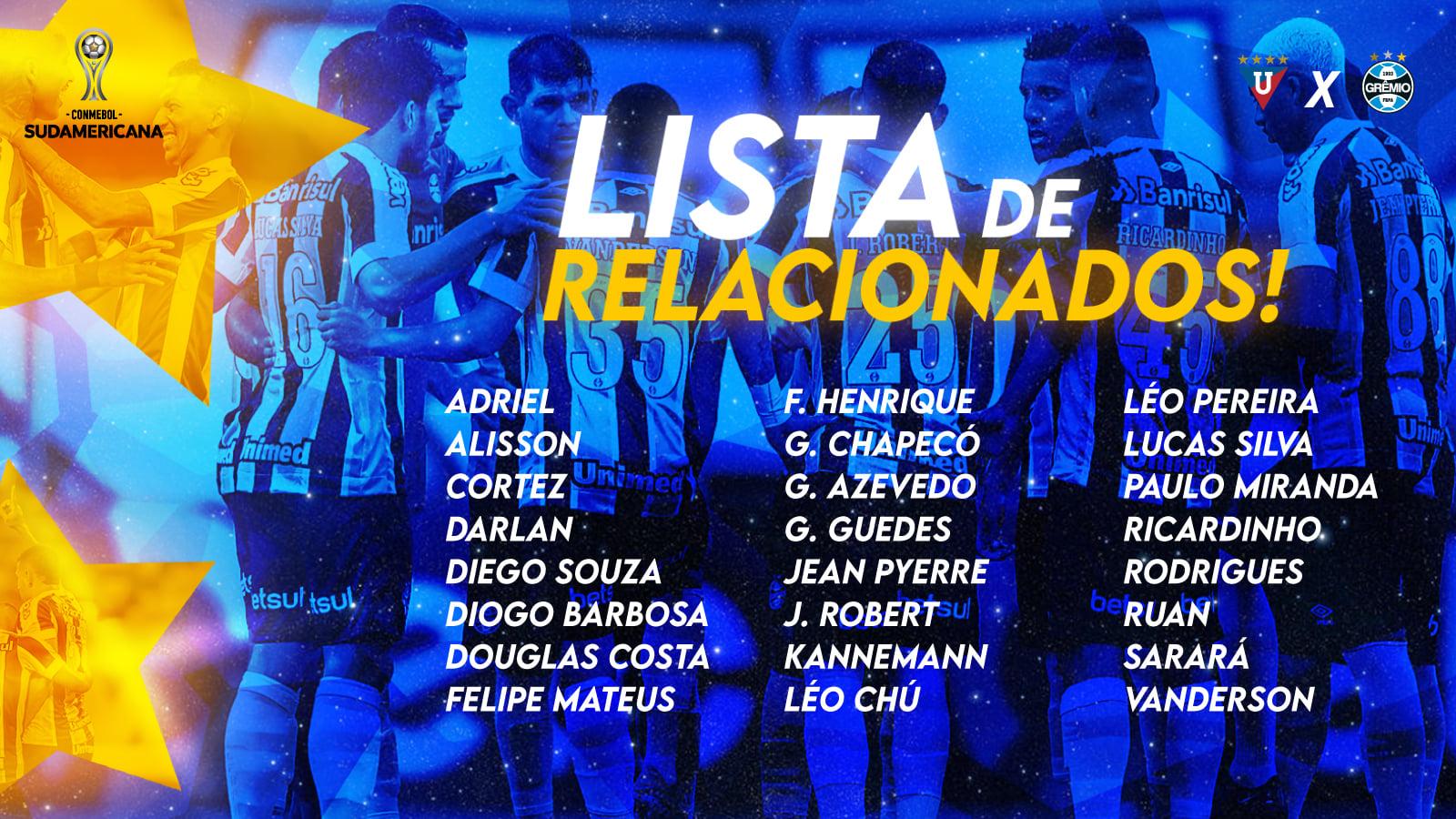 Grêmio divulga relacionados para o confronto contra a LDU, pela Sul-Americana