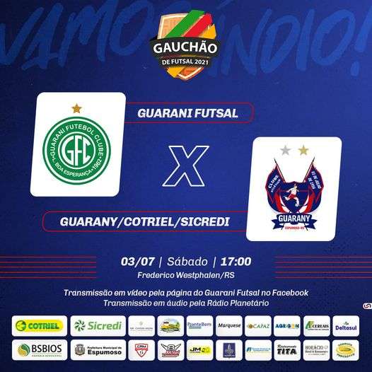 Guarany/Cotriel Sicredi enfrenta Guarany FW neste sábado