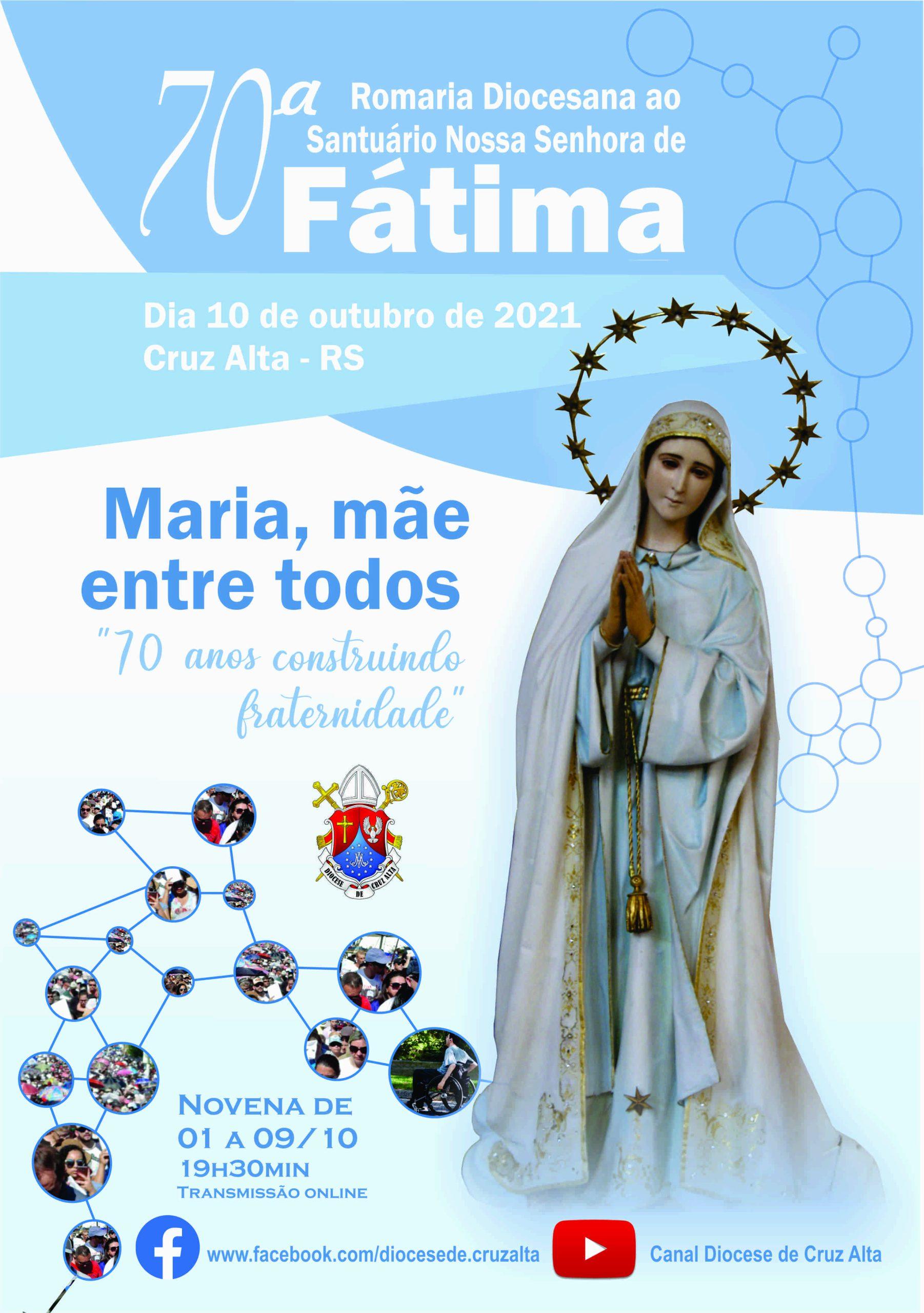 70ª Romaria de Nossa Senhora de Fátima de Cruz Alta começa com novena nesta sexta-feira