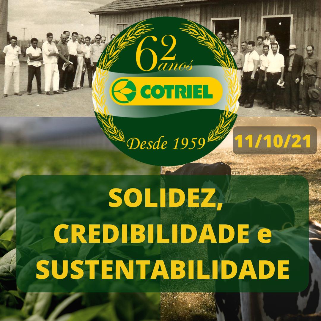 Presidente da Cotriel destaca importância dos 62 anos da Cooperativa e do crescimento regional da Cooperativa