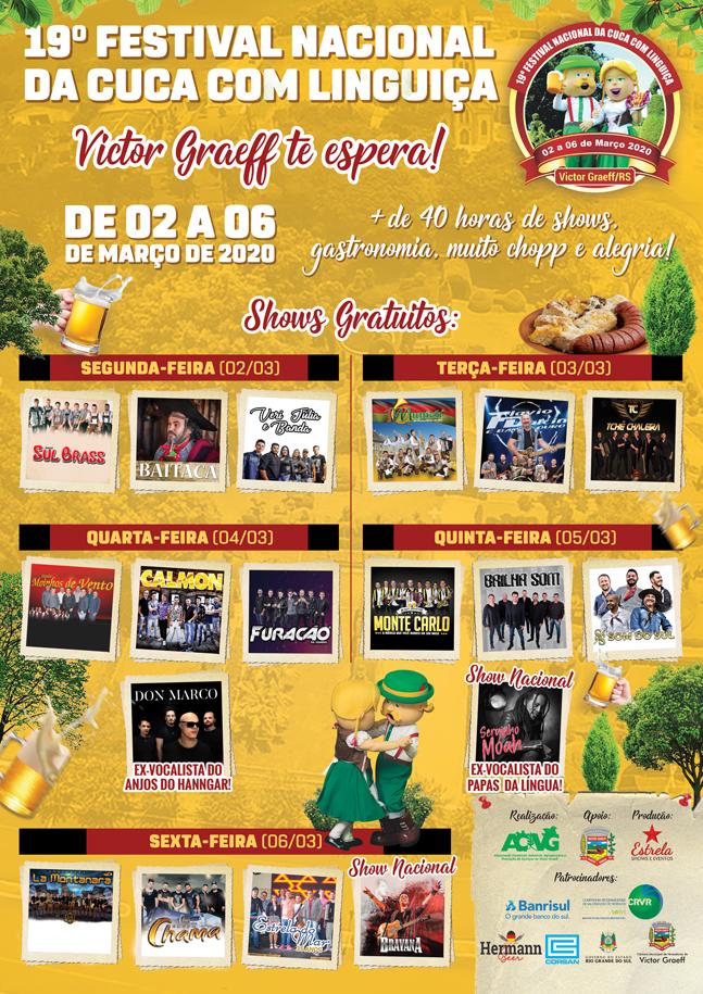 19º Festival Nacional da Cuca com Linguiça será de 02 a 06 de março em Victor Graeff
