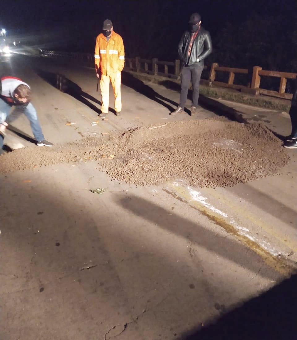 Cabeceira de ponte da RSC-377 entre Cruz Alta e Ibirubá recebe reparo emergencial