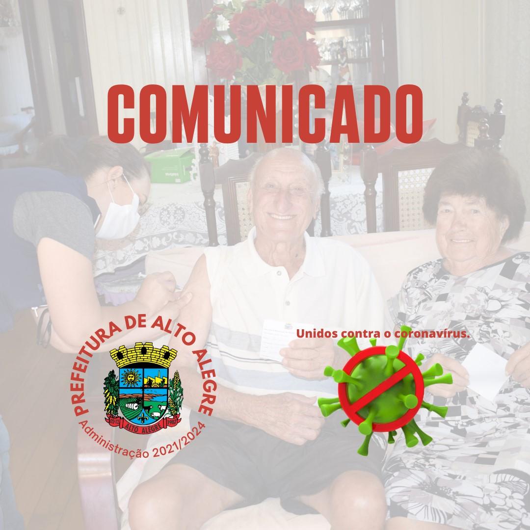 A equipe da Unidade Básica de Saúde de Alto Alegre comunica que a vacinação na unidade já foi encerrada