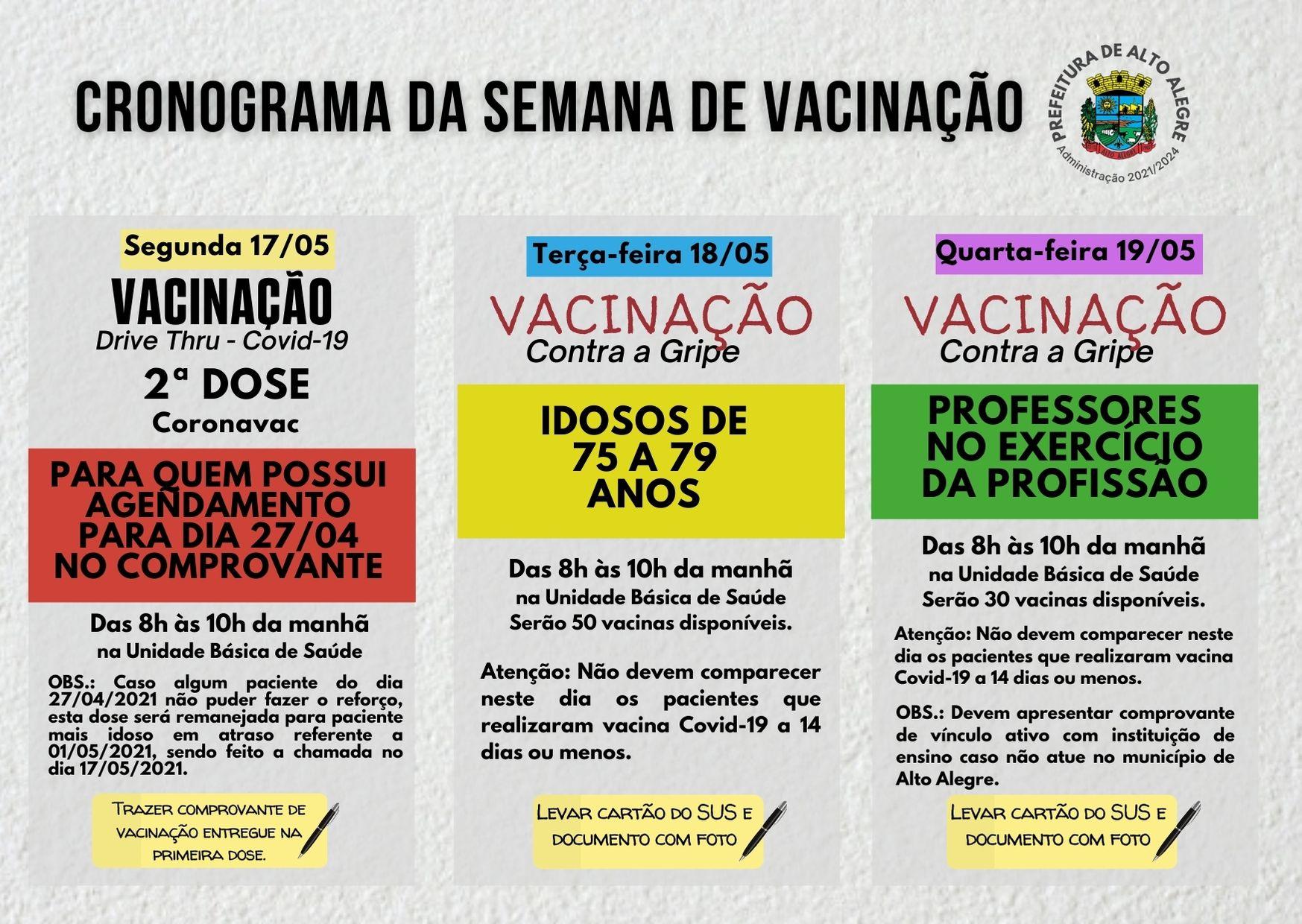Cronograma de vacinação desta semana em Alto Alegre