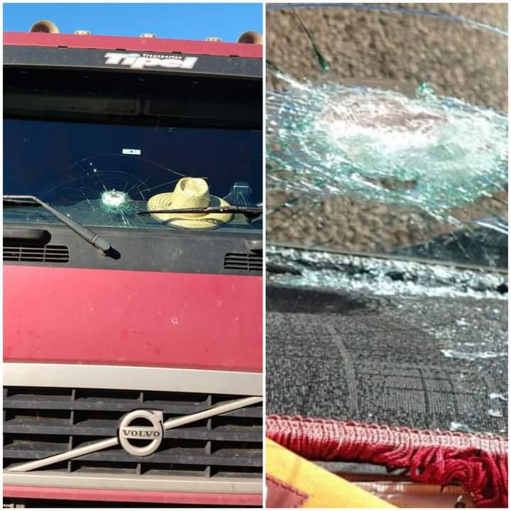 Caminhão é atingido por pedra na saída de Espumoso