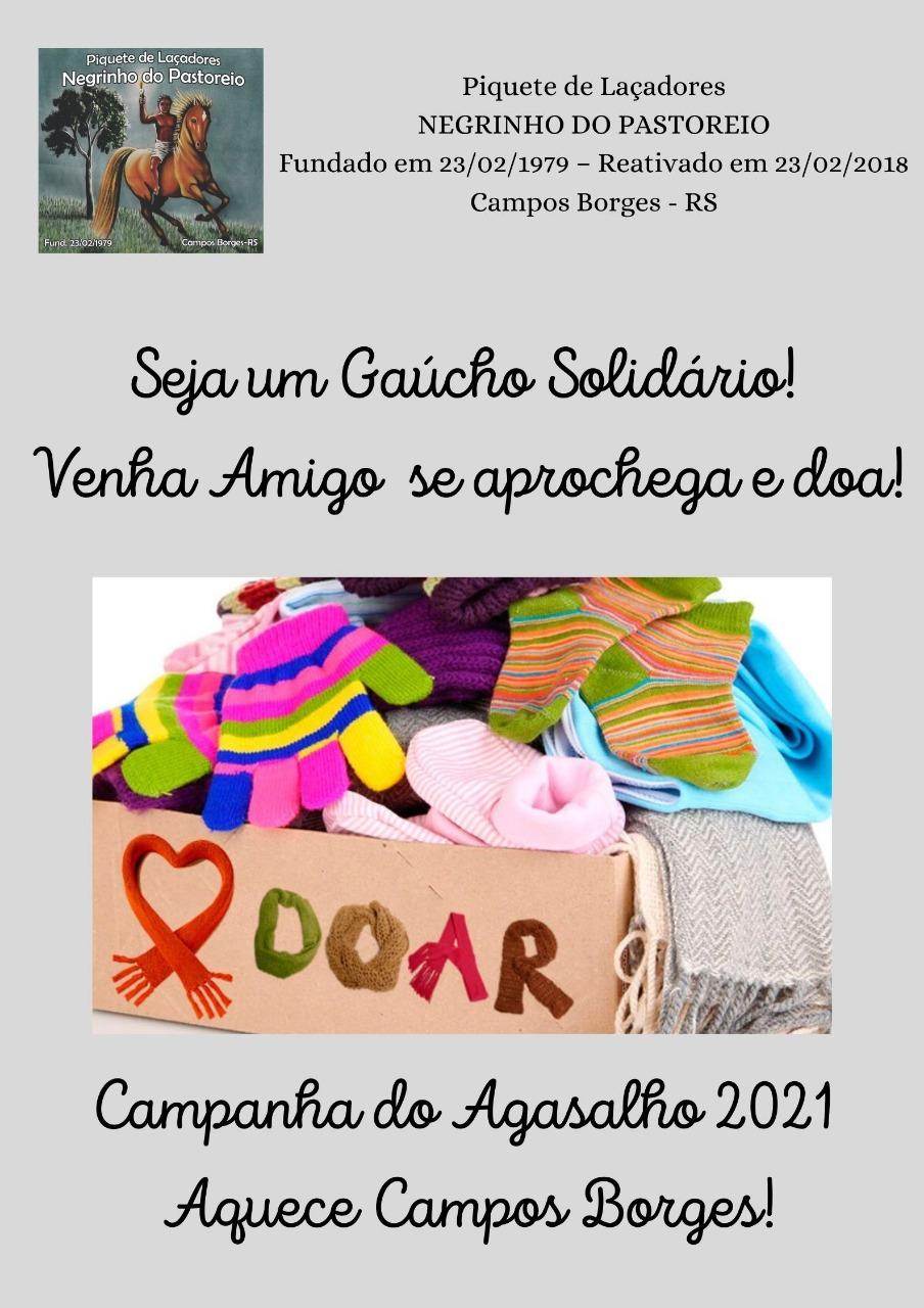 """Piquete de Laçadores Negrinho do Pastoreio promove Campanha do agasalho """"Aquece Campos Borges"""""""