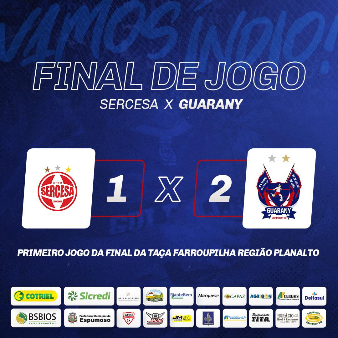 Guarany/Cotriel/Sicredi larga na frente na final da Taça Farroupilha Planalto