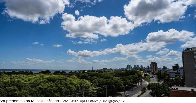 Sábado de sol e calor antecede frio histórico no RS a partir da próxima semana