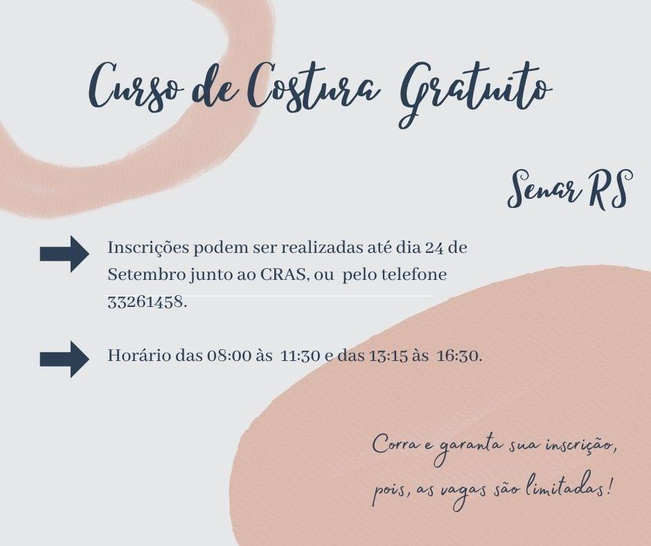 Curso de costura está sendo oferecido no Centro de Referência e Assistência Social de Campos Borges
