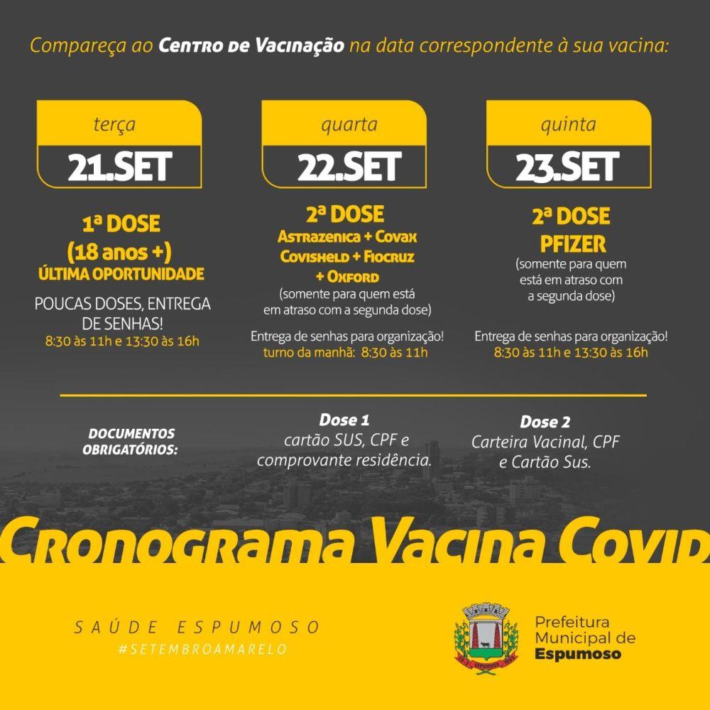 Espumoso:  Atenção para o cronograma de vacinação contra a Covid-19