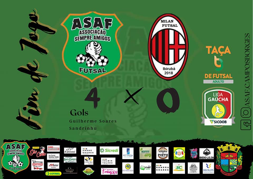 Taça TG de Futsal: Asaf de Campos Borges vence o Milan e assume a liderança