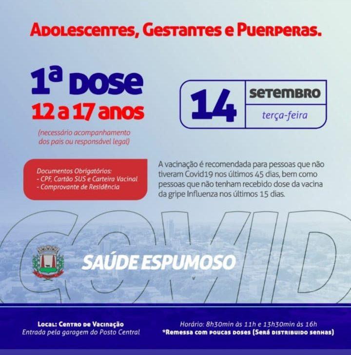 Dia 14 de setembro, adolescentes, gestantes e puérperas poderão se vacinar contra o coronavírus, em Espumoso