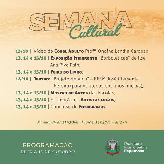 3ª Semana Cultural de Espumoso vai ocorrer de 13 a 15 de outubro