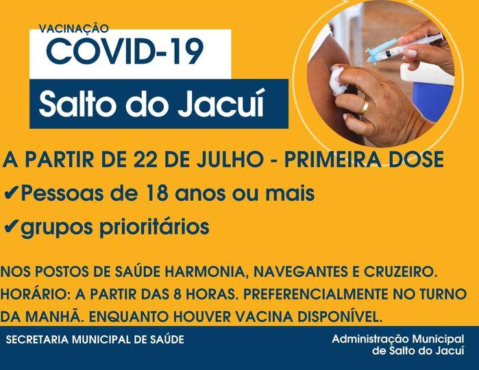 Salto do Jacuí abre vacinação contra Covid -19 para pessoas de 18 anos