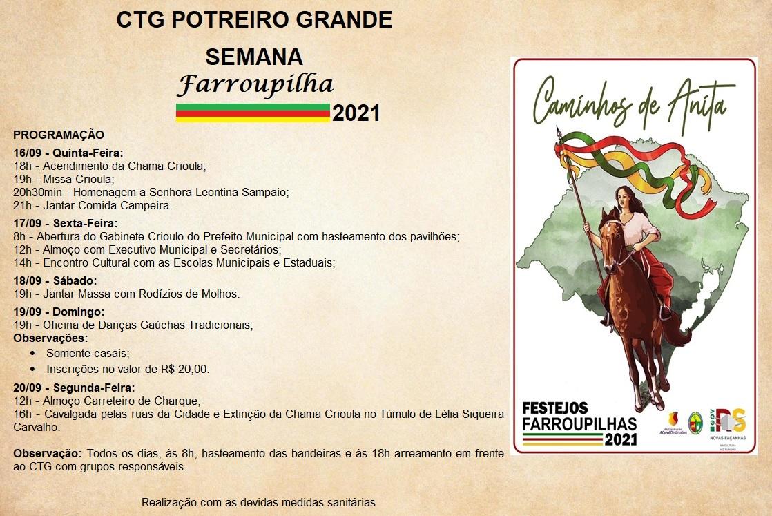 CTG Potreiro Grande inicia festejos Farroupilha