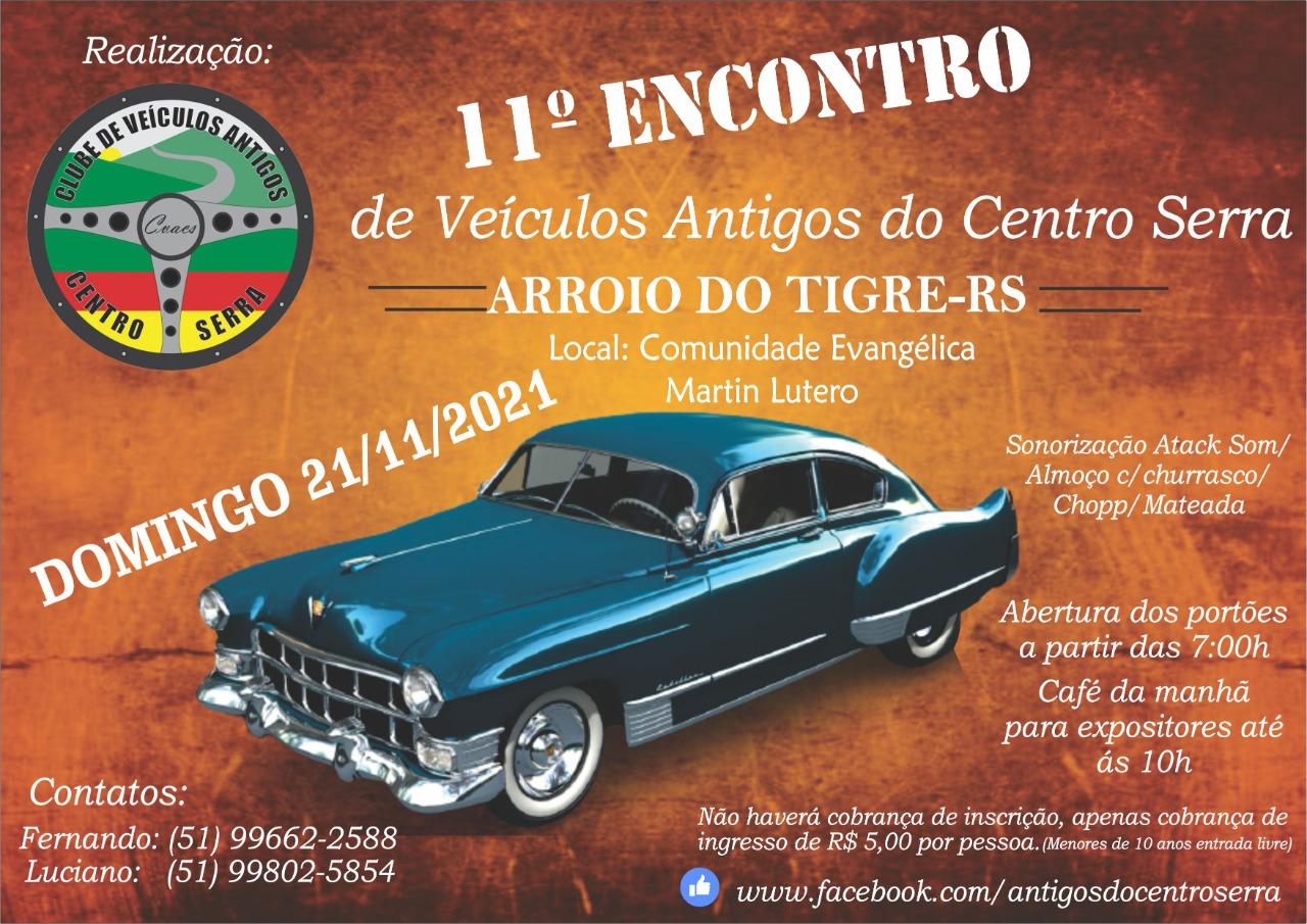 11º Encontro de Carros Antigos do Centro Serra será realizado em novembro