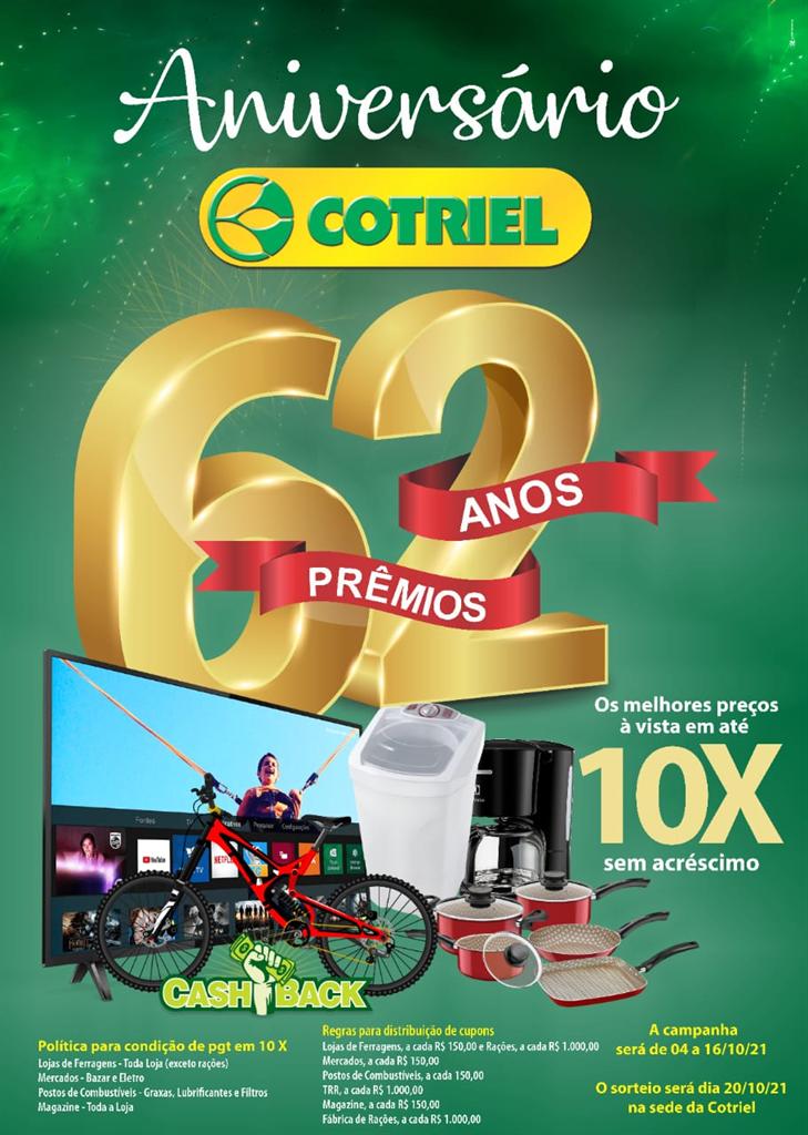Campanha 62 anos, 62 prêmios Cotriel começa nesta segunda-feira, 04