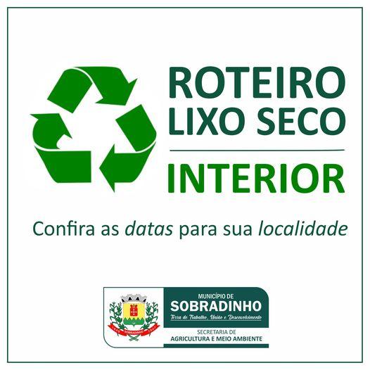 Recolhimento de lixo seco será nesta terça-feira no interior de Sobradinho