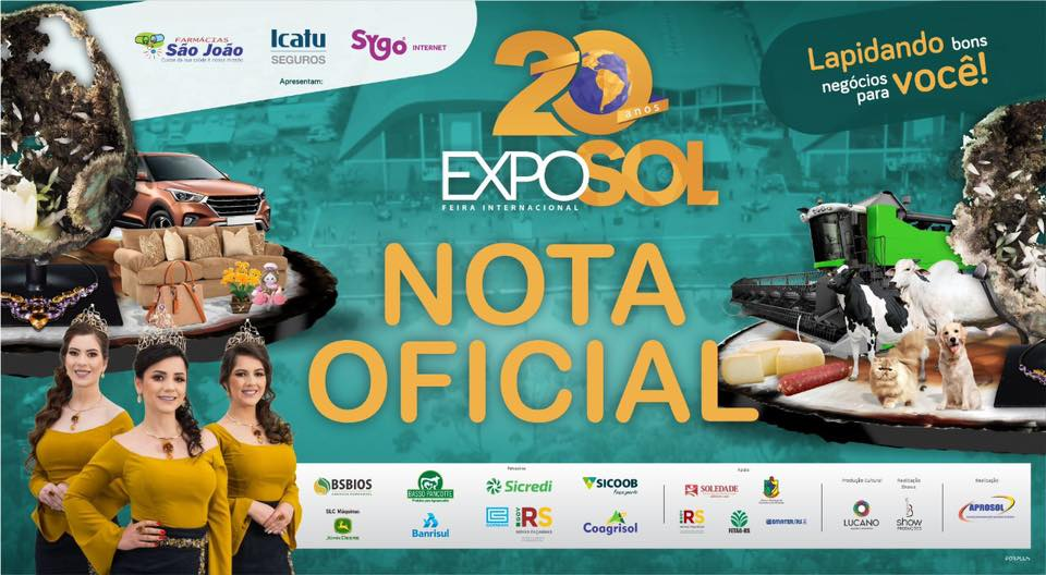 Organização da Exposol – Feira Internacional decide pelo CANCELAMENTO da edição de 2020