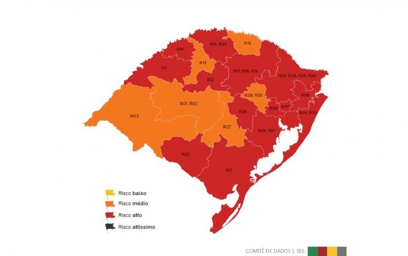 Mapa preliminar traz 14 regiões em bandeira vermelha na 12ª rodada do Distanciamento Controlado