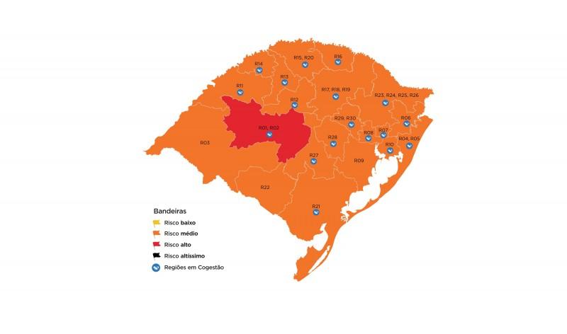 Apenas região de Santa Maria está na bandeira vermelha, segundo Governo do RS
