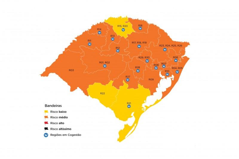 RS volta a ter bandeiras amarelas no mapa preliminar do Distanciamento Controlado